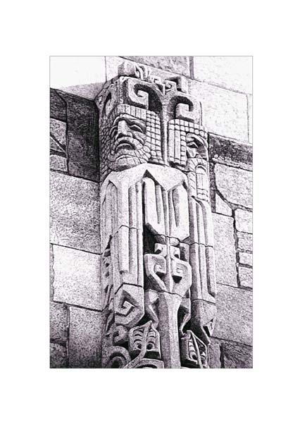 """Yale Totem, graphite on paper, 30"""" x 24"""""""