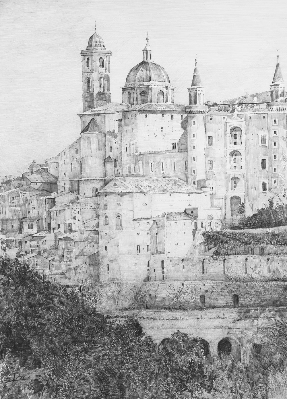 "Urbino, Medici palace, graphite on paper, 16"" x 14"""