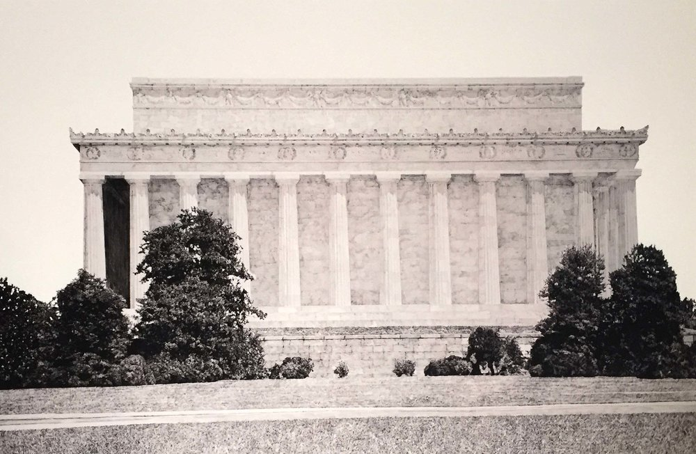 "Lincoln Memorial, graphite on paper, 24"" x 40"""