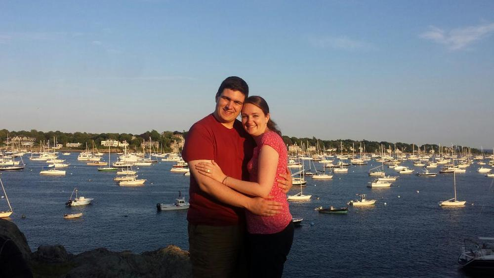 Tom & Caitlin, just a few hours post proposal, Marblehead, MA