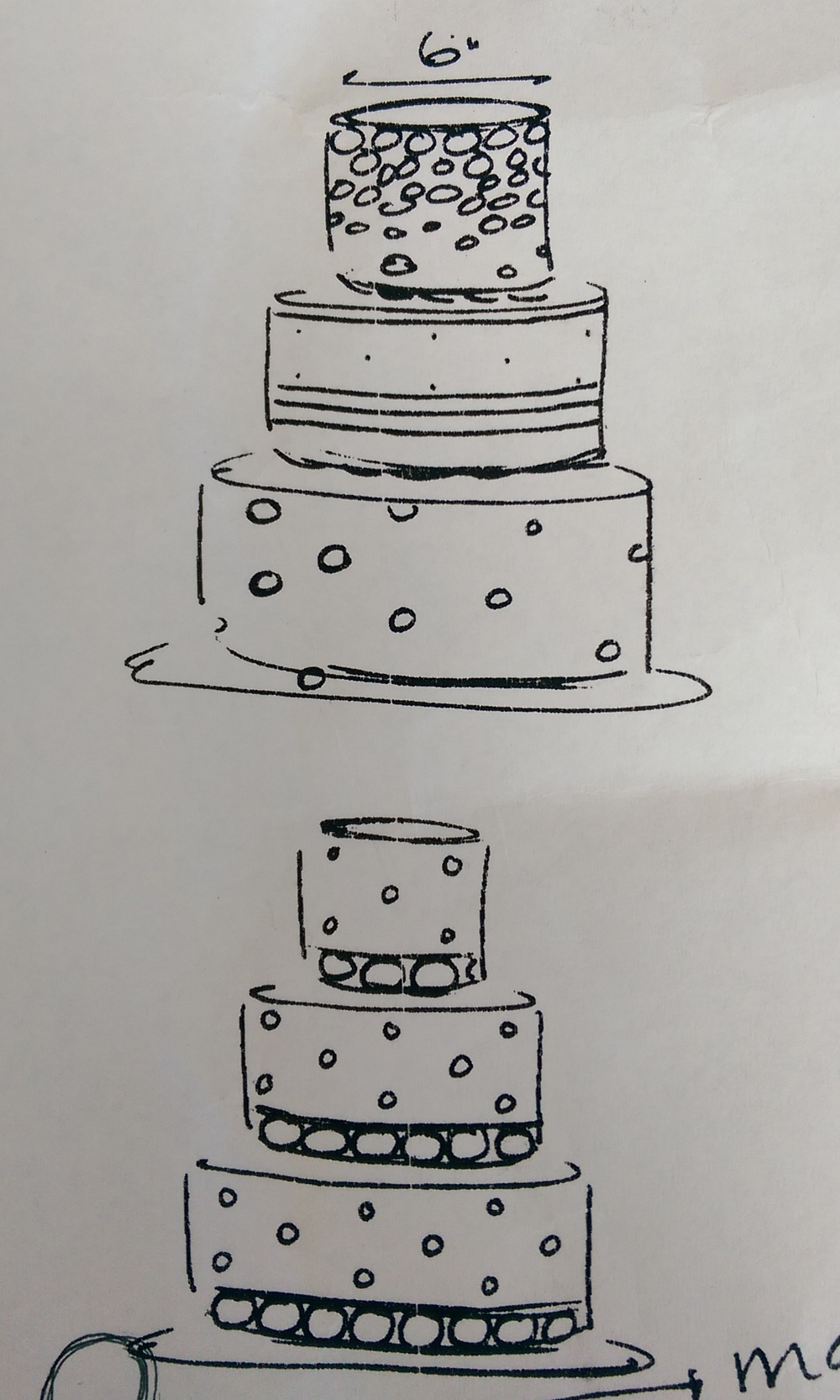 Two of the custom designs from Icing on the Cake that we didn't go with