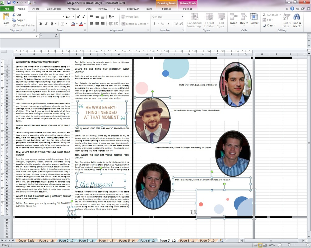 Because I was creating a booklet where the pages would fold over, I couldn't design pages next to each other, but instead had to do it the way it would print. So nothing lined up. I keep track of it by labeling the tabs. Above: Page 7 on the left, 12 on the right.