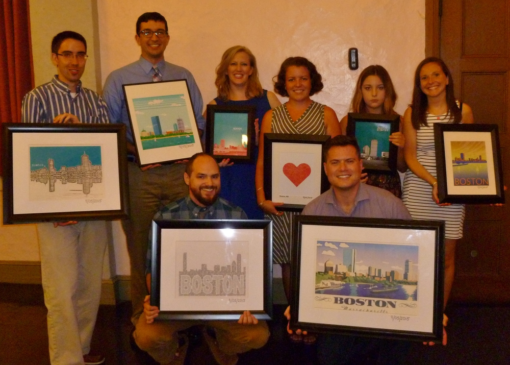 Wedding party with their personalized Boston prints