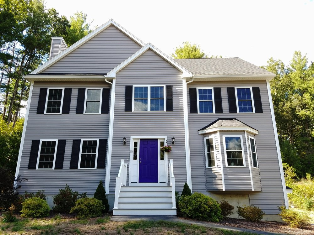 House with purple front door