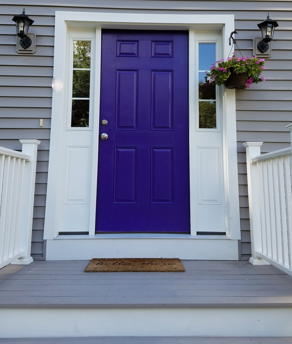 Purple front door painted