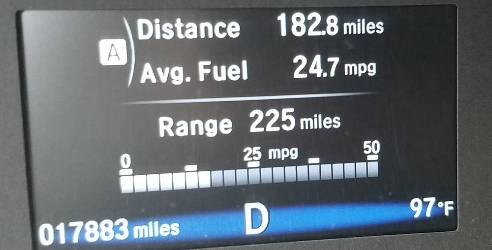 Gas mileage per gallon honda pilot