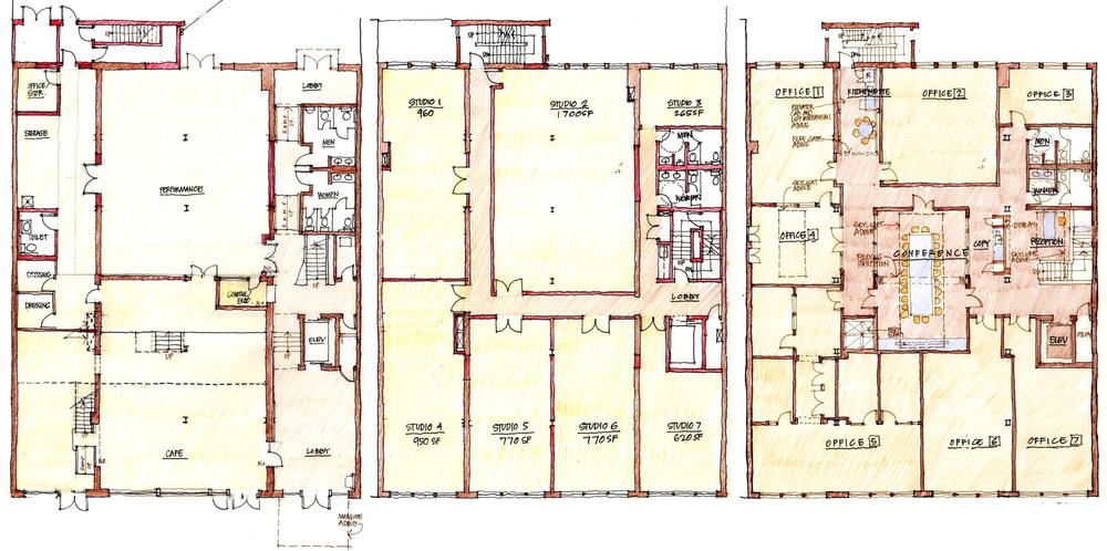 1st-3rd floor plans, L-R.