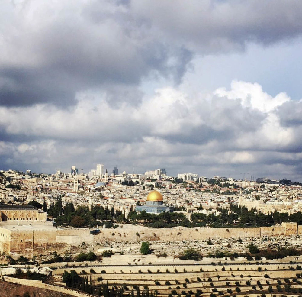 View from Bethany of Jerusalem where Jesus began his journey into the holy city.