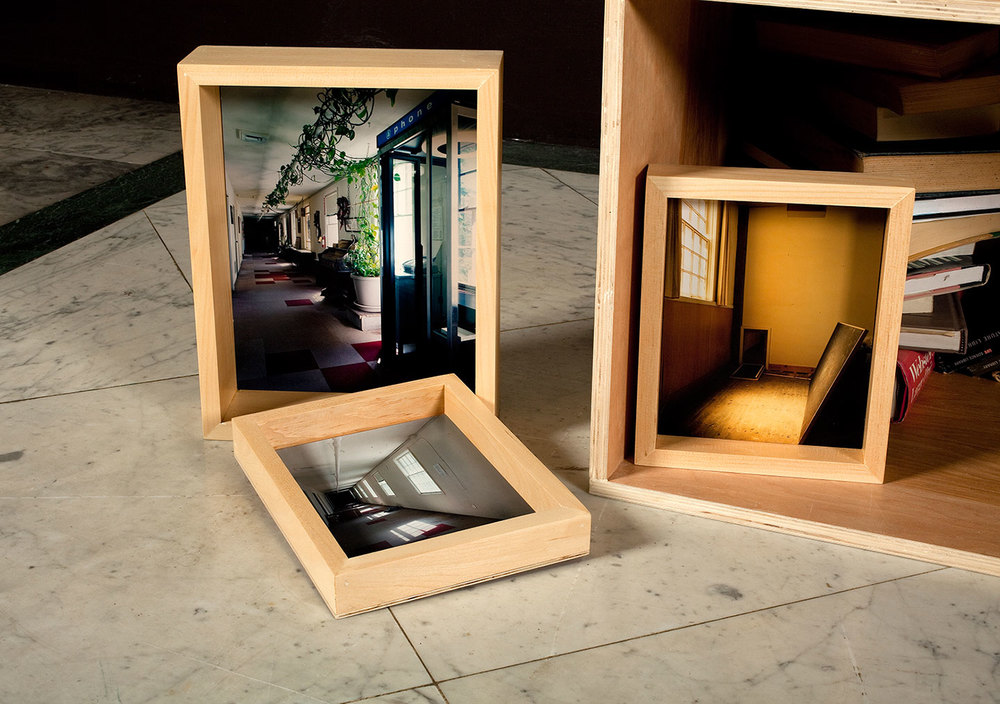 The church provided a place spiritually close, but materially and geographically distant from the Brothers' longtime home.The installation contained objects and images from The Brothers housed in custom-wood frames.