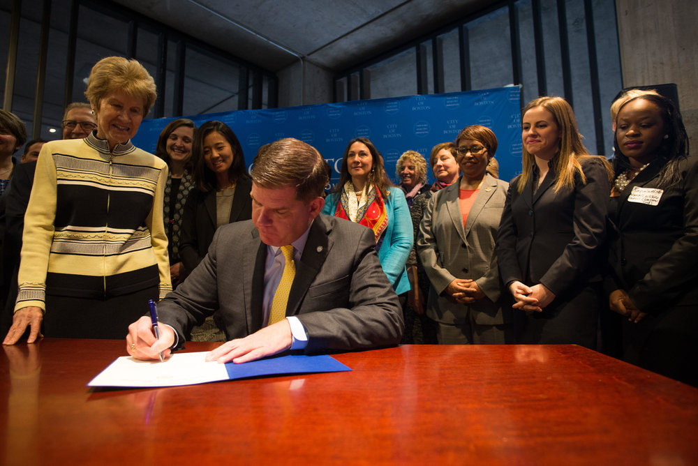 Mayor Martin J. Walsh signing the 100% Talent Compact   To learn more about the partnership with Mayor Martin J. Walsh, visit our City of Boston website    here   .