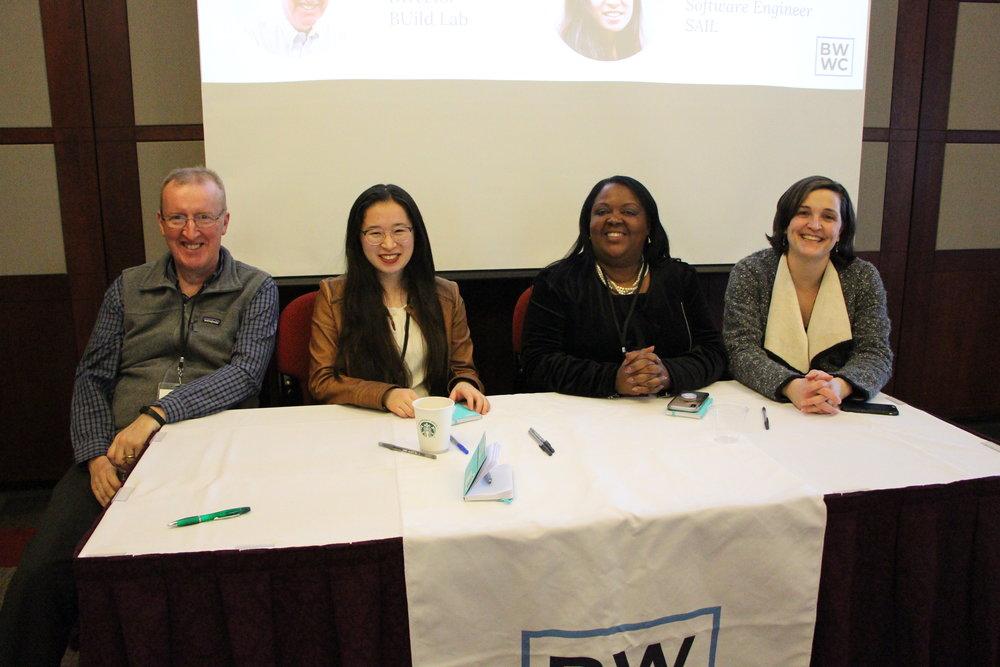 Feedback Panelists (left to right): Ian Mashiter (BUild Lab), Lucy Qin (SAIL), Enna Jimenez (ALPFA-Boston), Katharine Lusk (Initiative on Cities - BU)