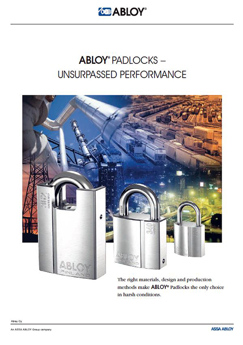 Click to download the Abloy PDF padlock product brochure.