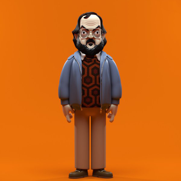 the-overlook-hotel: Unproduced design by Evil Corp for a vinyl figure of director Stanley Kubrick, specific to the period of time he was making The Shining. Sweater inspired by the iconic carpet outside Room 237.
