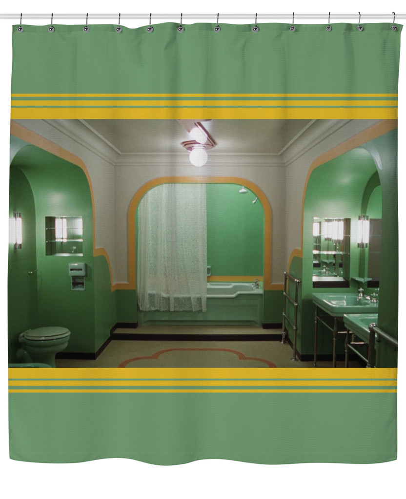 the-overlook-hotel: Shower Curtain inspired by The Shining, emblazoned with an image of the bathroom in Room 237. Available here. WANT!