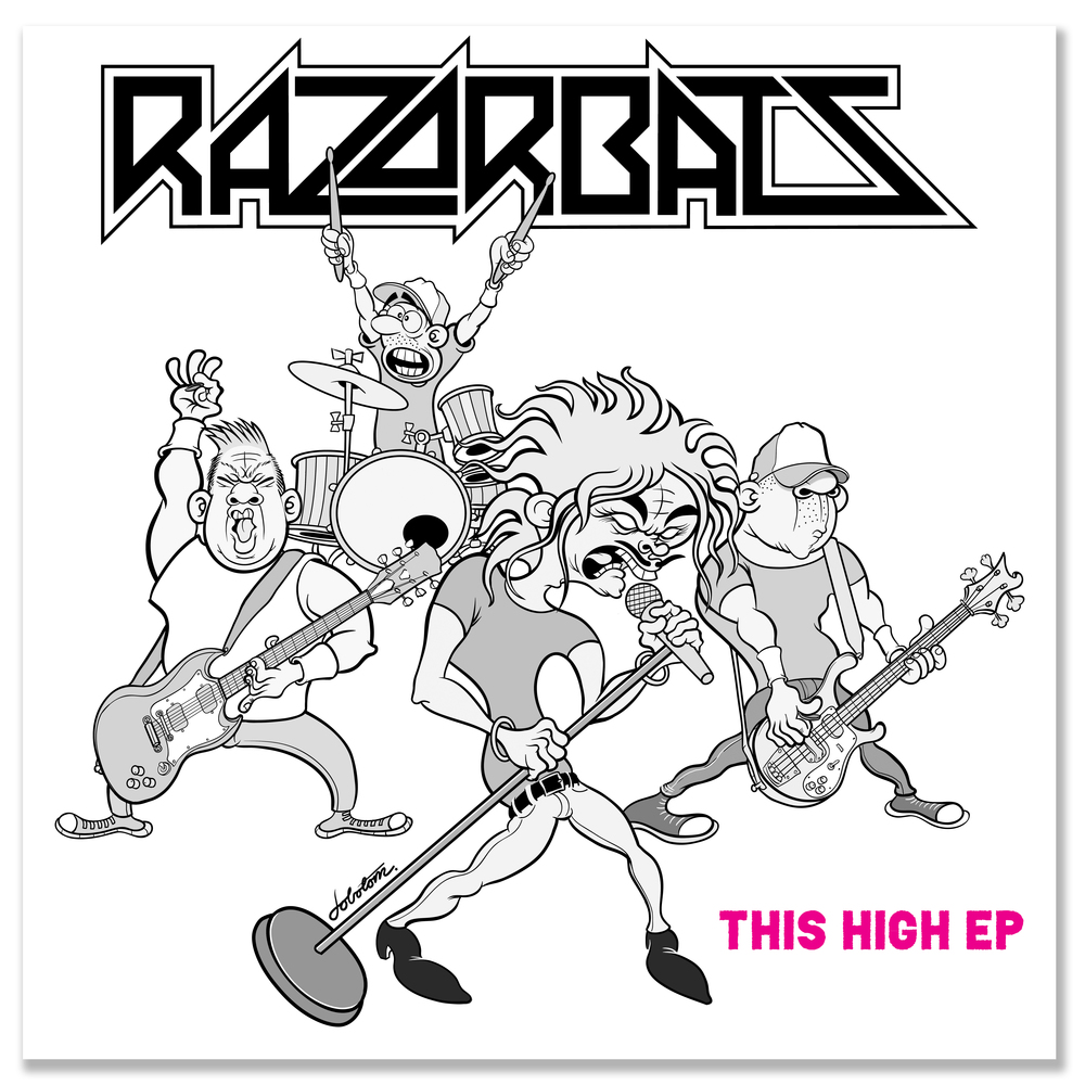 """7"""" EP cover for punk rock band Razorbats"""