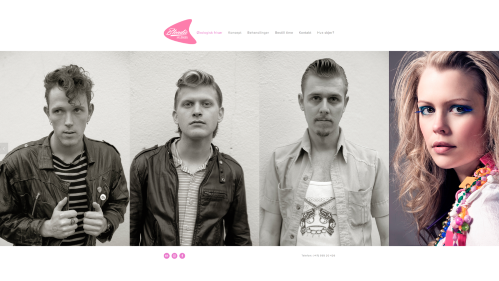 Web design for Blondie Salongen, hair salon
