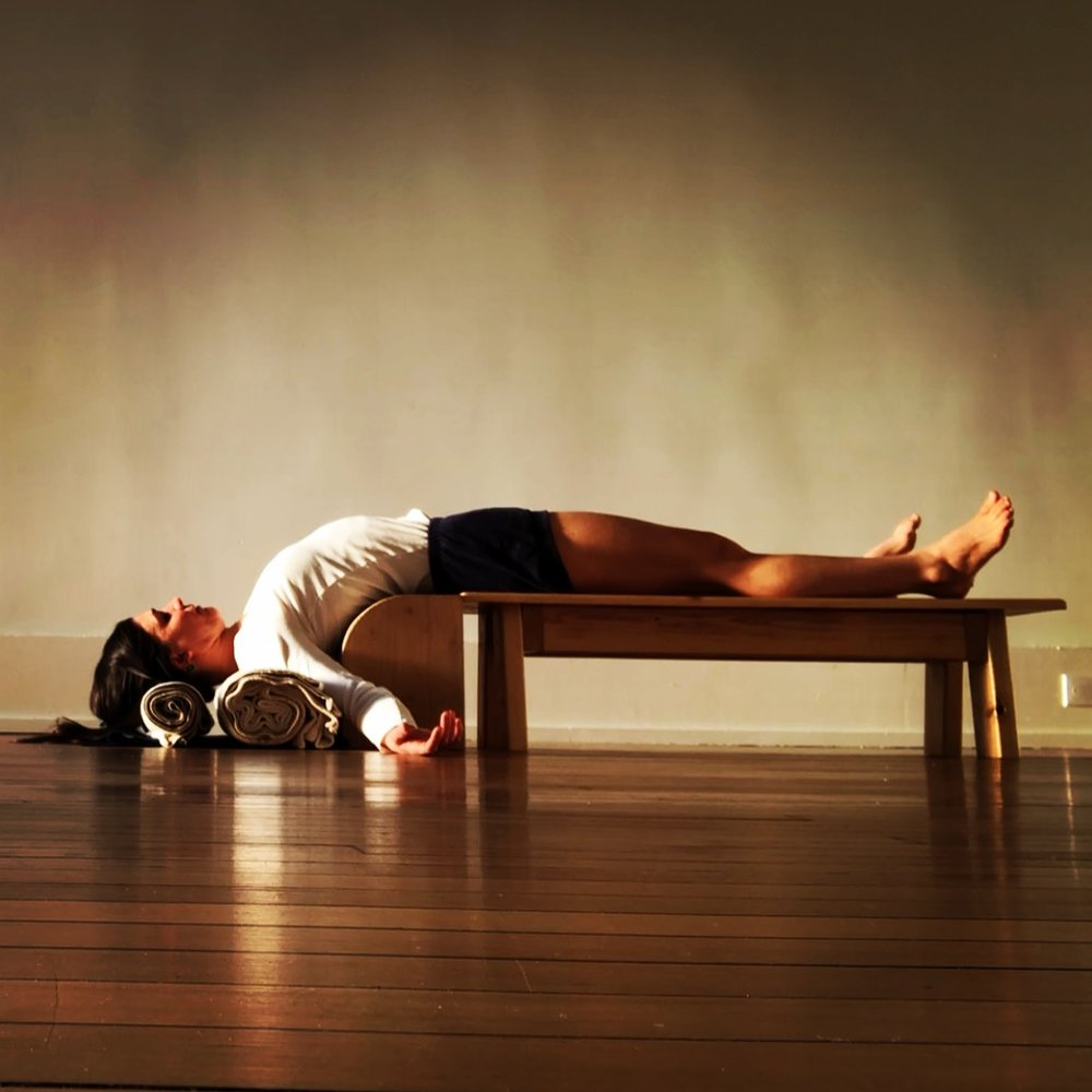 Setu Bandha Sarvāngāsana - Bridge of the whole body pose, taught in Gentle/Restorative Class