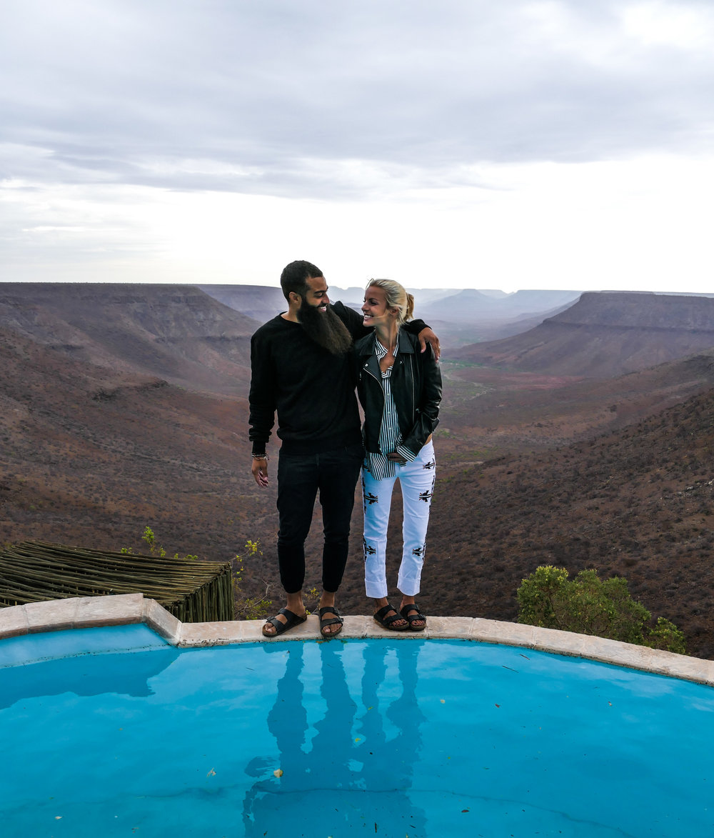 Grootberg Lodge, Grootberg, Damaraland, Namibia. Pictured: Adrienne McDermott @byebyeadrienne and Andrew McDermott @heyheyAndrew