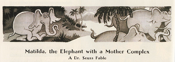 "An illustration from a 1938 ""animal"" short story by Dr. Seuss."