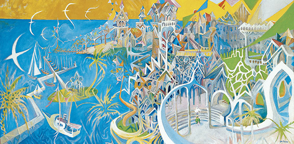 Theodor Seuss Geisel's 1970 painting I Dreamed I Was a Doorman at the Hotel del Coronado