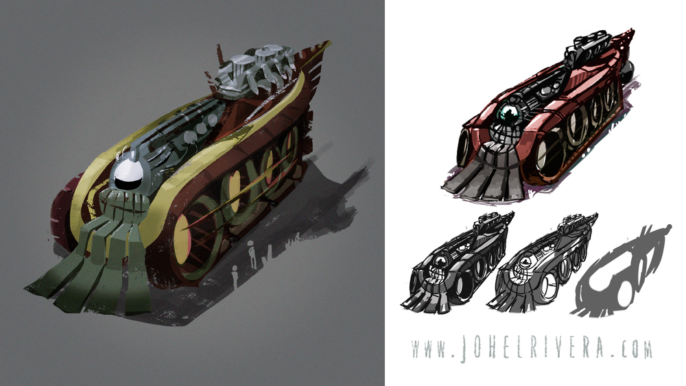Here's a little bit of the design process behind this vehicle. First, some random shapes, using a combination of a low controlable brush and eraser until something that sparks an idea happens. Then some line-work over the shapes to make visible what the mind sees. Add some tone work to define volumes followed by color exploration. And the peace out and render for a while.
