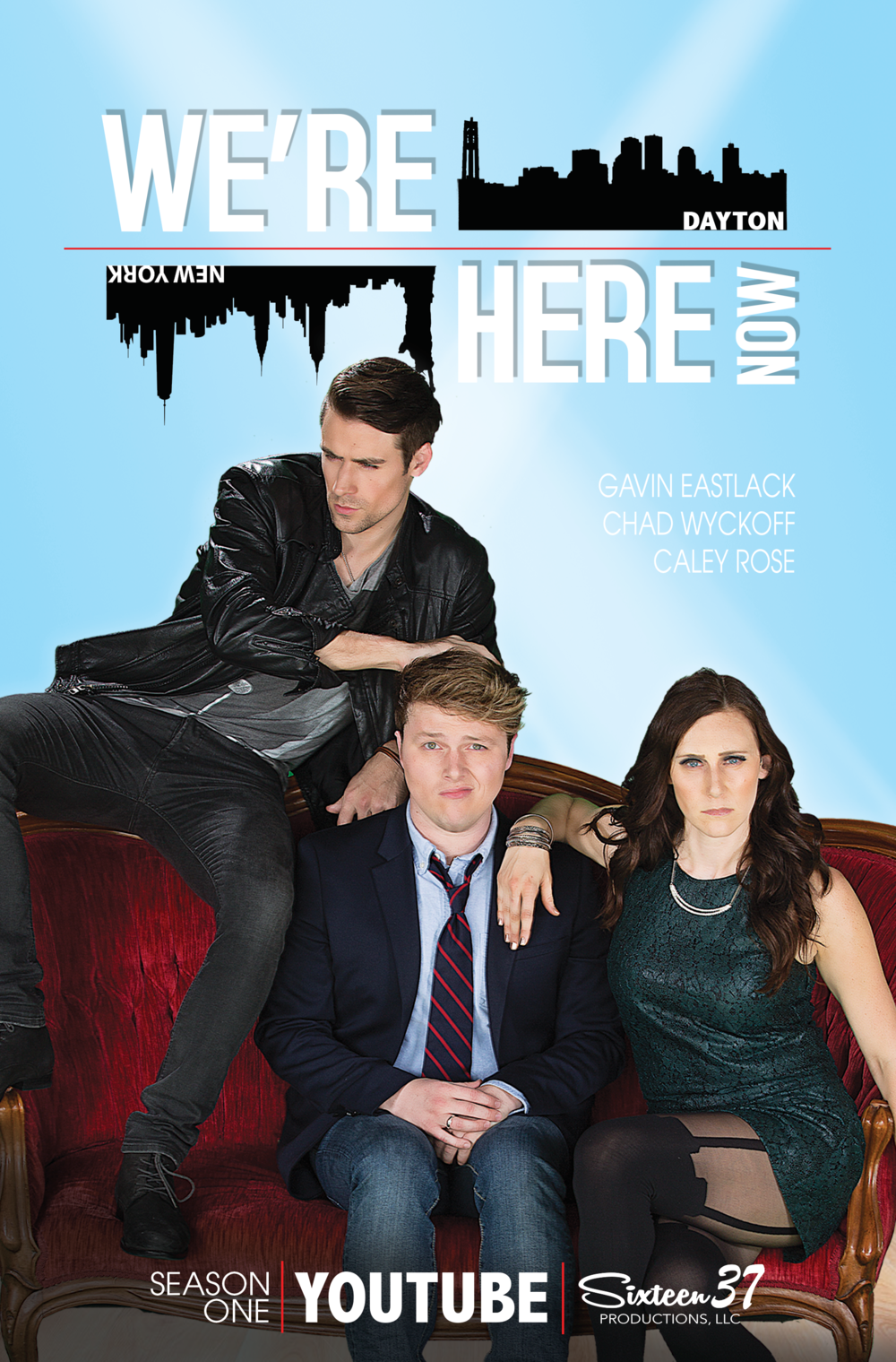 Promotional IMDB.com poster for comedy series, We're Here Now. Produced by Sixteen 37 Productions and The Trinity Film Group.