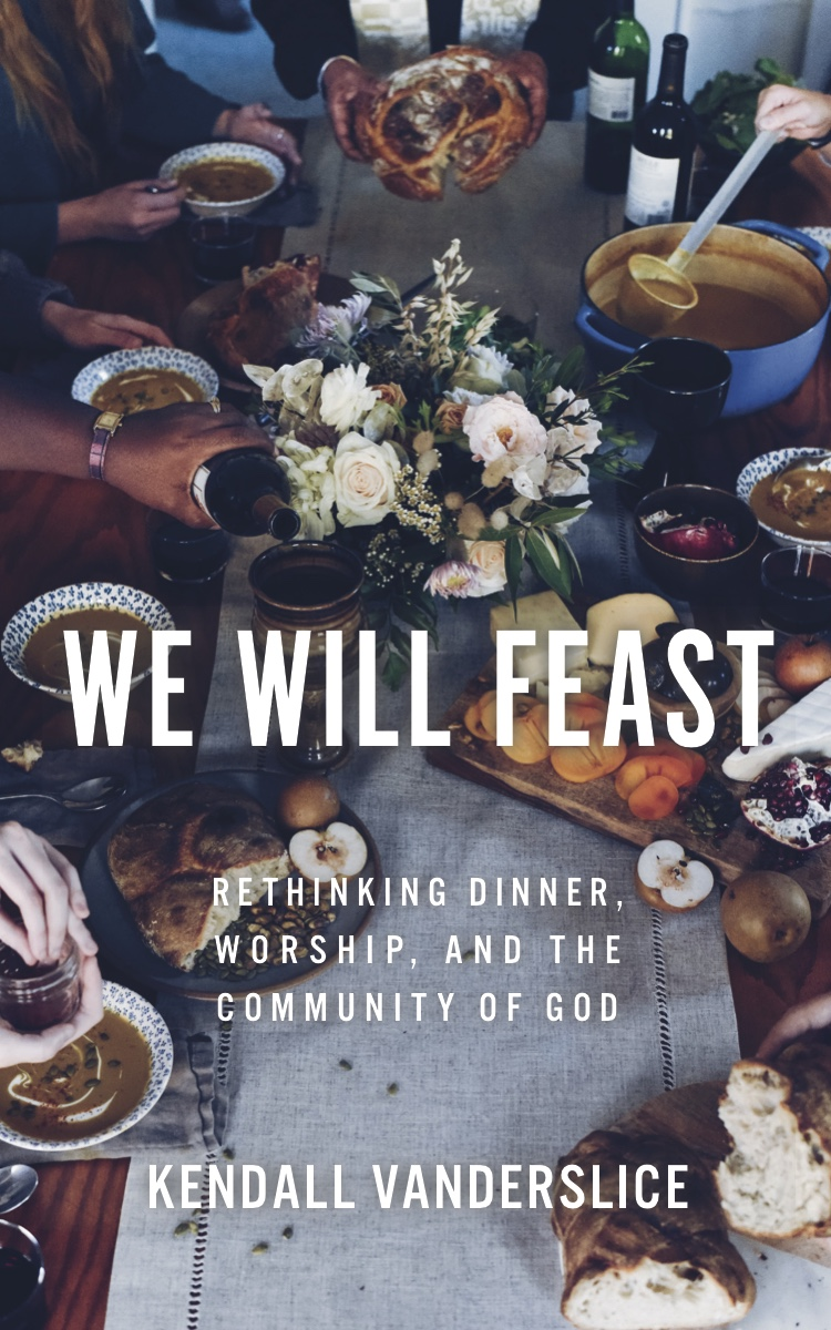 We Will Feast cover, people eating around a table while a priest breaks a loaf of bread