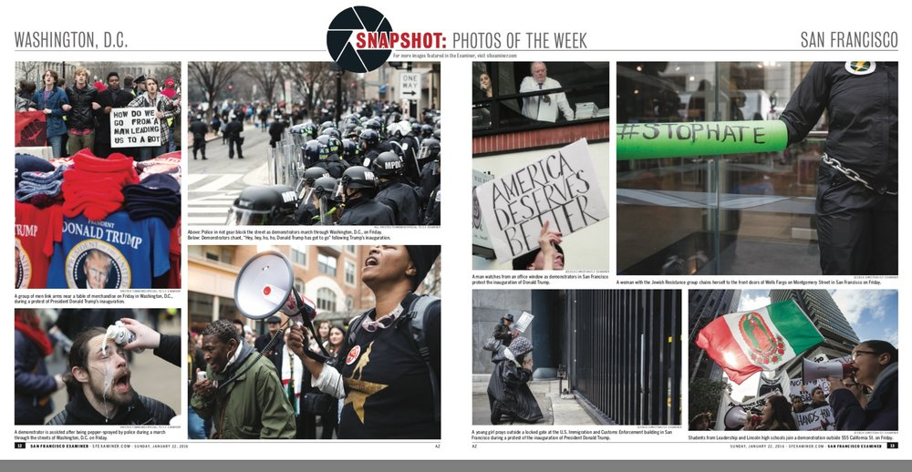 Photos from the inauguration protests. On the left are photos from Washington, D.C. photographed by Kristen Tomkowid. On the right are photographs from San Francisco, photographed by Jessica Christian.
