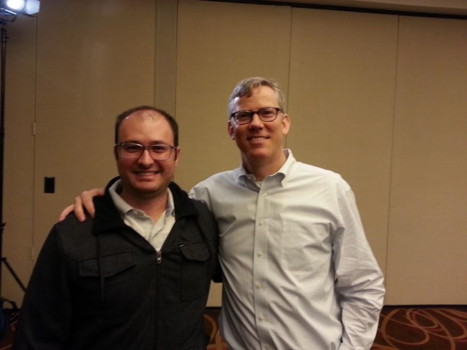 Eu e o CEO do HubSpot, Brian Halligan no workshop em Bosto