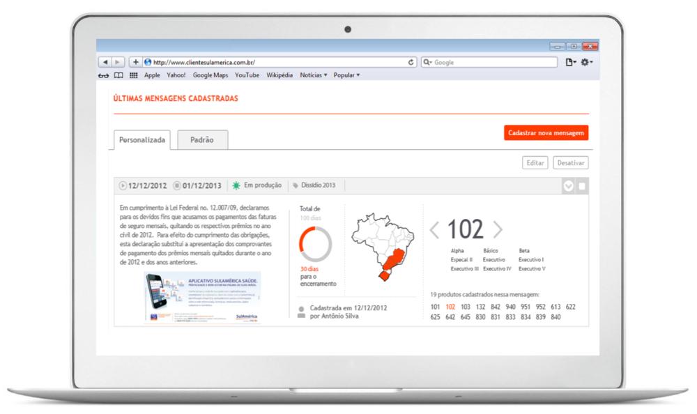 Tela web para análise das campanhas Transpromo cadastradas