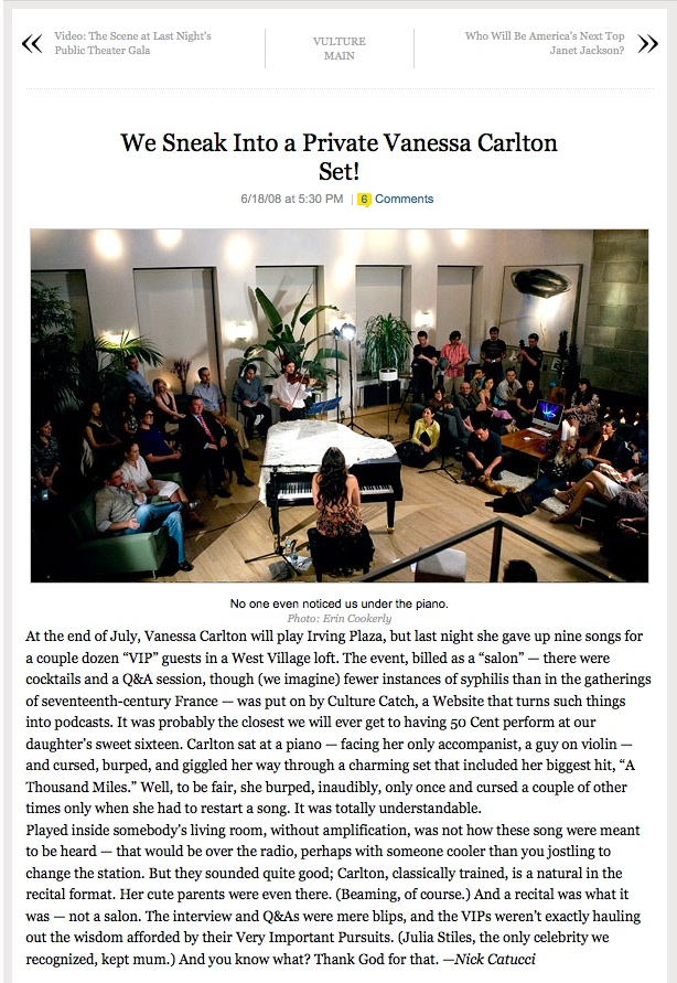 Vanessa Carlton at Bennett Media Studio, featured on New York Magazine