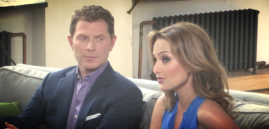 Bobby Flay   and   Giada De Laurentiis   at   Bennett Media Studio   for their new show!