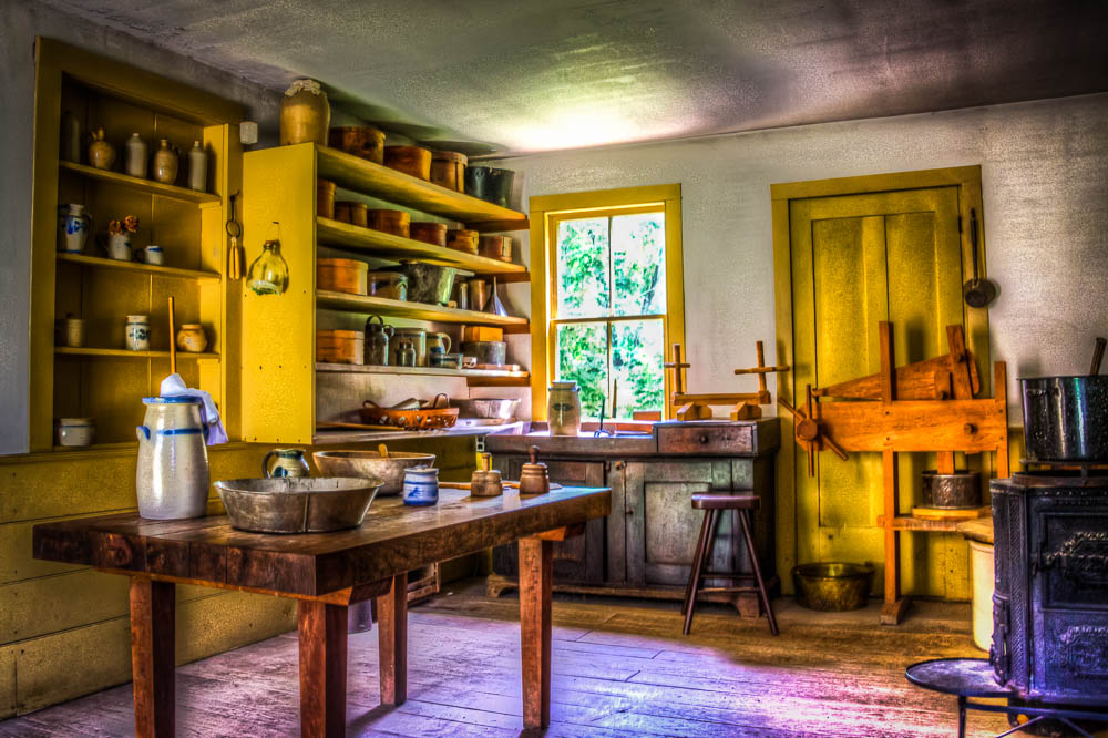 An interior of one of the farm houses on site. 3 shot HDR