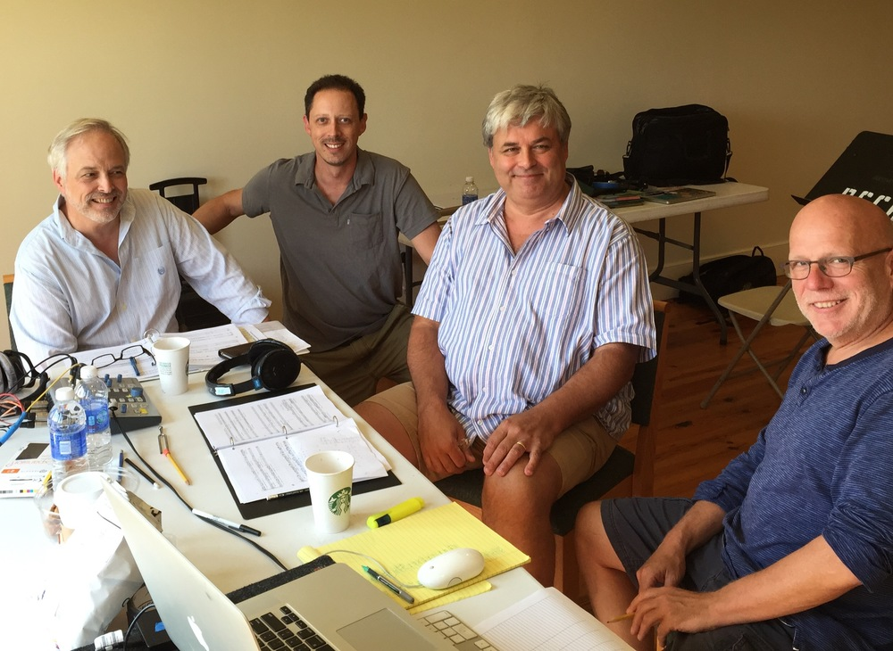 TL with recording engineer Paul Vazquez, producer Adrian Peacock, conductor Donald Nally at recording sessions for Bonhoeffer, St. Peter's in the Great Valley, September 5, 2015.