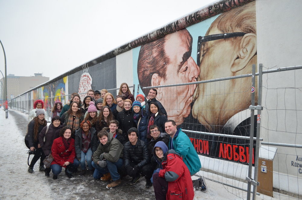 """Bruderkuss"" painting on the Berlin Wall."