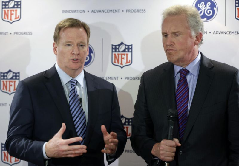 "NFL Commissioner Roger Goodell (left) and GE CEO Jeff Immelt announce the winners of the $20 million ""Head Health Challenge."""