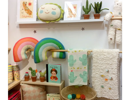 Cactus themed interior display for nursery/room decor section of the store. Featuring a muted pastel color palette and desert wall art and home accessories. Spring/Summer 2018.