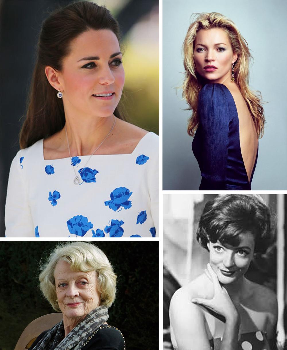 TOP: DUCHESS OF CAMBRIDGE, KATE MIDDLETON / SUPERMODEL, KATE MOSS  BOTTOM: ACTRESS, MAGGIE SMITH