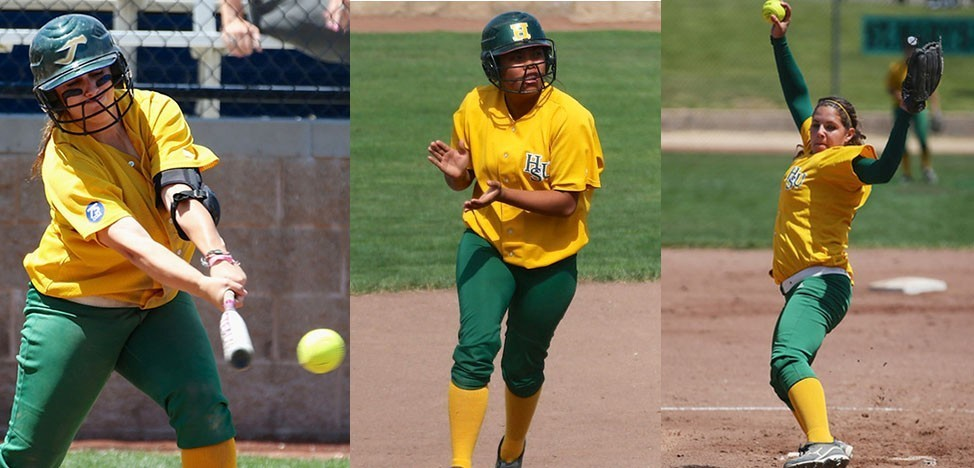 HSU Softball players Tiffany Hollingsworth, Julie Pena, and Katie Obbema (HSU Athletics)