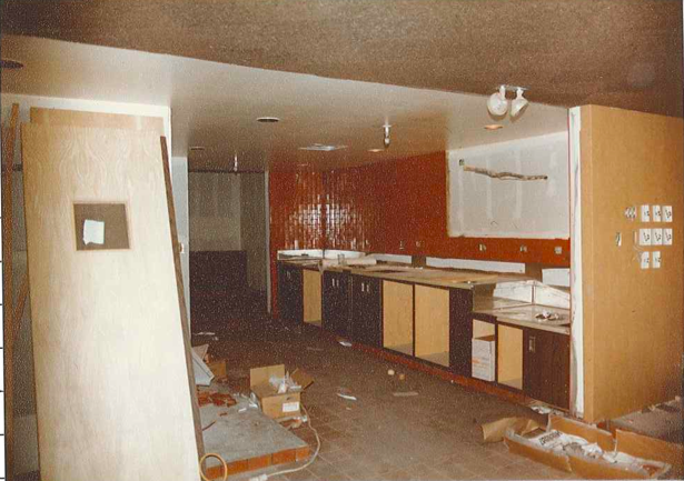 What is known today as the soda fountain area is being built.