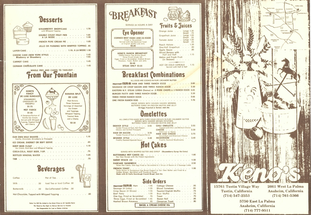 The Original Kenos Menu