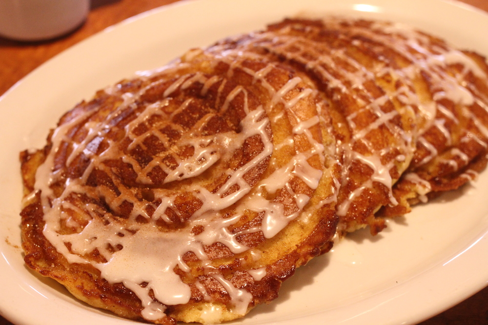 Keno's *NEW* Cinnamon Roll Pancakes!    Now Available All Day Saturday-Sunday & Monday-Friday until 11AM
