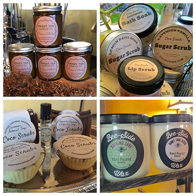 Stop by and browse through our new selection of candles, all natural lip and body scrubs, bath soaks, and more! @sweetteacandle #madeinnashville #handpouredsoy #tennesseewhiskey #burninglove #beesidewax #cocoscrubs #allnatural #sweetnaturalgoodness #sugarscrub #bathsoak