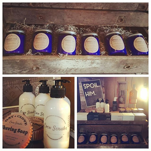 Attention men!! We have awesome new products for you too! #mensgroomingproducts #cocoscrubs #mintteatree #aftershave #oatclove #shavingsoap #kevinmurphy #1821 @sweetteacandle #nashvillesalon #nashvilleboutique