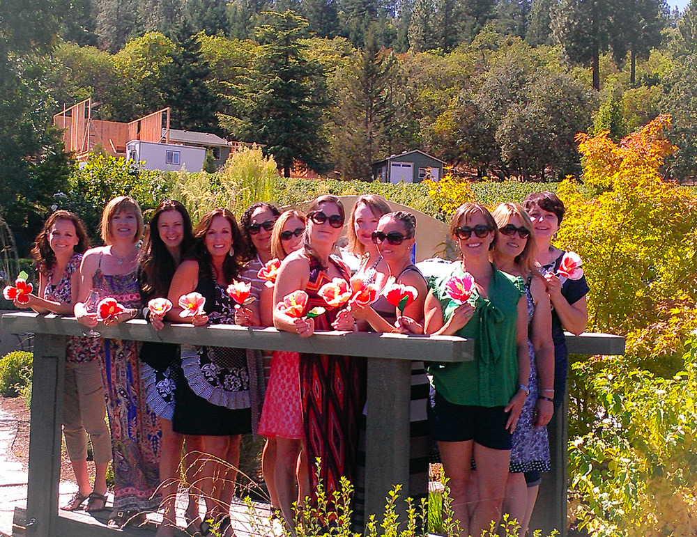 Happy Hibiscus Crafters at Dancin Vineyards, Jacksonville Oregon.