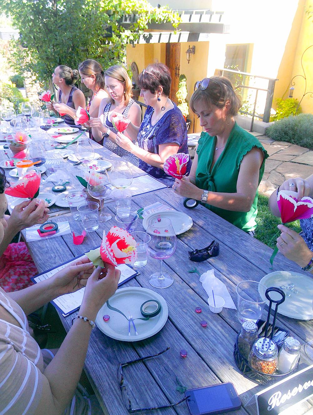 Flower crafting at Dancin Vineyards—making memories.