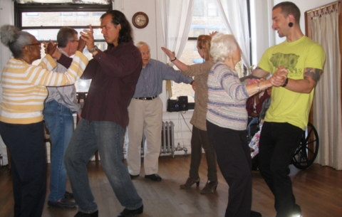 Photo by: Jodie Berman. Hearthstone Alzheimer's Care visiting the RB Cares dance studio.