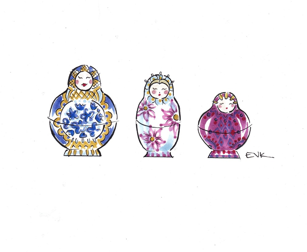 Three Russian Nesting Dolls  (2015) Marker and ink on archival bond, 4 x 6 inches © 2015 Elise Vavrus Krohn