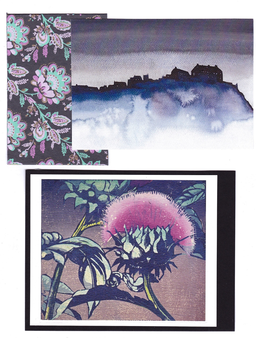 Edinburgh-based inspiration. Top:  Edinburgh Castle, Darkness , watercolor by Ross Macintyre (www.rossmacintyre.co.uk). Bottom:  Artichoke  (1935), woodcut by Mabel Royds  © The Estate of Mabel Royds (www.nationalgalleries.org)