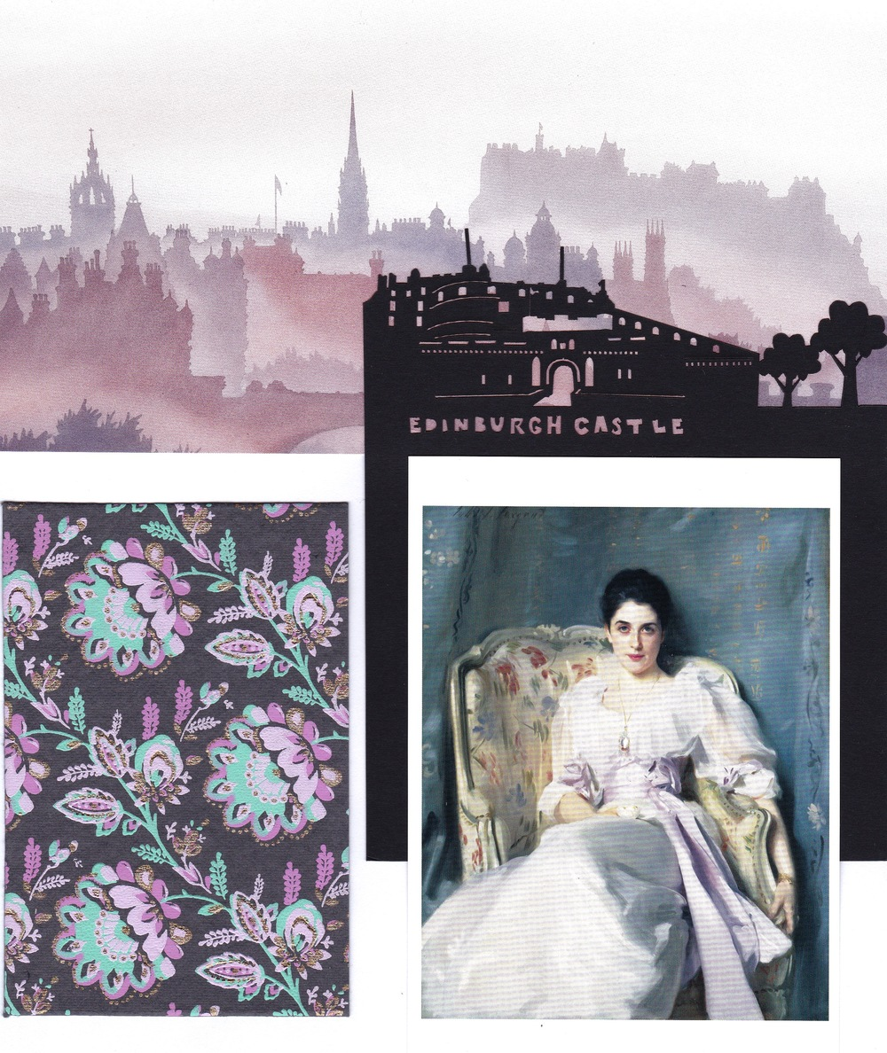 Edinburgh-based inspiration. Top:  Edinburgh Silhouette , painting by Bob Fraser © Bob Fraser (www.edinburgharts.com). Center:  Edinburgh Castle , cutout from greeting card by Alljoy Design. Bottom:  Lady Agnew of Locknaw  (c.1893), John Singer Sargent, oil on canvas © The Trustees of the National Galleries of Scotland.